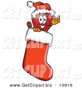 Clip Art of a Festive Red Apple Character Mascot Wearing a Santa Hat Inside a Red Christmas Stocking by Toons4Biz