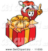 Clip Art of a Festive Red Apple Character Mascot with a Christmas Present over White by Toons4Biz