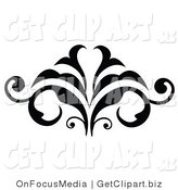 Clip Art of a Flourishing Black Silhouetted Embellishment Design by OnFocusMedia