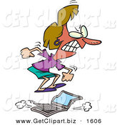 Clip Art of a Flustered Woman Jumping on a Slow Running Laptop Computer by Toonaday