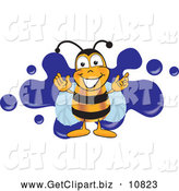 Clip Art of a Friendly Bee Mascot Cartoon Character Logo with a Blue Paint Splat by Toons4Biz