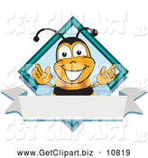 Clip Art of a Friendly Bee Mascot Cartoon Character on a Blank White Label by Toons4Biz