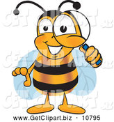 Clip Art of a Friendly Bee Mascot Cartoon Character Peeking Through a Magnifying Glass by Toons4Biz