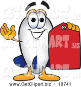 Clip Art of a Friendly Blimp Mascot Cartoon Character Holding a Red Clearance Price Tag by Toons4Biz