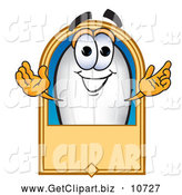 Clip Art of a Friendly Blimp Mascot Cartoon Character with a Blank Label by Toons4Biz