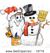 October 9th, 2013: Clip Art of a Friendly Blimp Mascot Cartoon Character with a Snowman by Toons4Biz