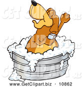 Clip Art of a Friendly Brown Dog Mascot Cartoon Character Bathing in a Metal Tub by Toons4Biz
