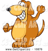 Clip Art of a Friendly Brown Dog Mascot Cartoon Character Grinning by Toons4Biz