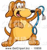 Clip Art of a Friendly Brown Dog Mascot Cartoon Character Holding a Leash, Ready for a Walk by Toons4Biz