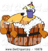 Clip Art of a Friendly Brown Dog Mascot Cartoon Character with a Drink on His Belly, Taking a Bath by Toons4Biz