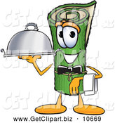 Clip Art of a Friendly Green Carpet Mascot Cartoon Character Dressed As a Waiter and Holding a Platter by Toons4Biz