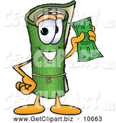 Clip Art of a Friendly Green Carpet Mascot Cartoon Character Holding a Dollar Bill by Toons4Biz