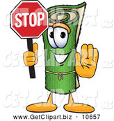Clip Art of a Friendly Green Carpet Mascot Cartoon Character Holding a Stop Sign by Toons4Biz