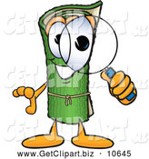 November 14th, 2013: Clip Art of a Friendly Green Carpet Mascot Cartoon Character Looking Through a Magnifying Glass by Toons4Biz