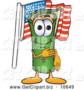 Clip Art of a Friendly Green Carpet Mascot Cartoon Character Pledging Allegiance to the American Flag by Toons4Biz