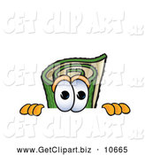 Clip Art of a Friendly Green Carpet Mascot Cartoon Character Scared, Peeking over a Surface by Toons4Biz