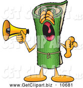 October 25th, 2013: Clip Art of a Friendly Green Carpet Mascot Cartoon Character Screaming into a Megaphone by Toons4Biz