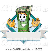 Clip Art of a Friendly Green Carpet Mascot Cartoon Character with a Blank Label by Toons4Biz