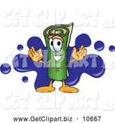 October 31st, 2013: Clip Art of a Friendly Green Carpet Mascot Cartoon Character with a Blue Splatter by Toons4Biz
