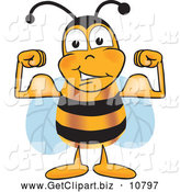 Clip Art of a Friendly Muscular Bee Mascot Cartoon Character Flexing His Arm Muscles by Toons4Biz