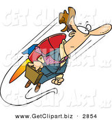 Clip Art of a Frowning Business Man Heading to Work While Flying, Attached to a Jet Pack by Toonaday