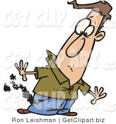 Clip Art of a Frowning Man's Pants Burning from a Cigarette by Toonaday