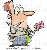 Clip Art of a Frowning White Business Man Holding a Pink Slip by Toonaday