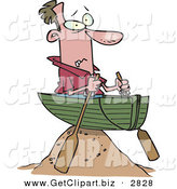 Clip Art of a Frowning White Man in a Boat on a Sandy Hill, Left High and Dry by Toonaday