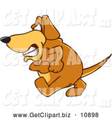 Clip Art of a Frustrated Brown Dog Mascot Cartoon Character with an Angry Grumpy Expression by Toons4Biz