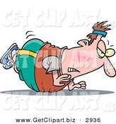 Clip Art of a Frustrated White Chubby Man Trying to Do Pushups but His Belly Keeps Getting in the Way by Toonaday