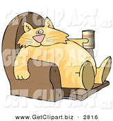 Clip Art of a Funny Obese Human-like Cat Sitting on a Recliner Chair with a Can of Beer by Djart