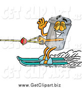 Clip Art of a Garbage Can Character and Water Skiing by Toons4Biz