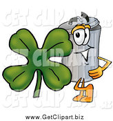 Clip Art of a Garbage Can Mascot with St Paddy's Day Clover by Toons4Biz