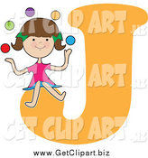 Clip Art of a Girl Juggling over Letter J by Maria Bell