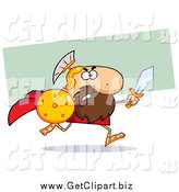 Clip Art of a Gladiator Running with a Shield and Sword by Hit Toon
