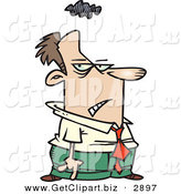 Clip Art of a Gloomy White Business Man with a Storm Cloud over His Head by Toonaday