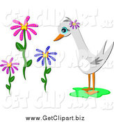 Clip Art of a Goose and Flowers by