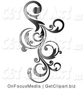 Clip Art of a Gradient Gray Vertical Curly Vine Scroll Design by OnFocusMedia