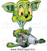 Clip Art of a Green Alien Aiming a Weapon by Dero