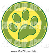 Clip Art of a Green and Yellow Dog Paw Print Design by Hit Toon