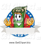 Clip Art of a Green Carpet Character with Stars and a Blank Label by Toons4Biz