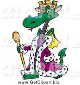 Clip Art of a Green King Green Dragon Wearing a Purple Robe by Dennis Holmes Designs