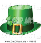 Clip Art of a Green St Patricks Day Leprechaun Hat with a Shamrock by Yayayoyo