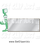 Clip Art of a Green Toothbrush Character Waving by a Blank Silver Plaque by Toons4Biz