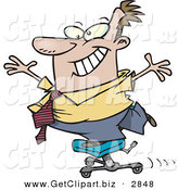 Clip Art of a Grinning and Happy Business Man Clowning Around While Standing on a Chair by Toonaday