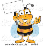 September 2nd, 2013: Clip Art of a Grinning Bee Mascot Cartoon Character Holding a Blank White Sign by Toons4Biz