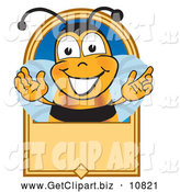 August 15th, 2013: Clip Art of a Grinning Bee Mascot Cartoon Character on a Blank Tan Label by Toons4Biz