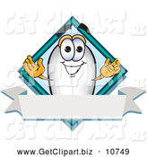 Clip Art of a Grinning Blimp Mascot Cartoon Character with a Blank Ribbon Label by Toons4Biz