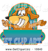 Clip Art of a Grinning Brown Dog Mascot Cartoon Character with Open Arms Above a Blank Label by Toons4Biz