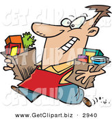 Clip Art of a Grinning Happy Grocery Store Employee Carrying Groceries out to a Car for a Customer by Toonaday